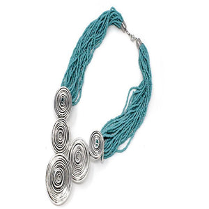 WIRE SWIRL NECKLACE SET - TURQUOISE