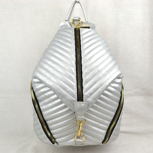 3 way zip quilting backpack - silver