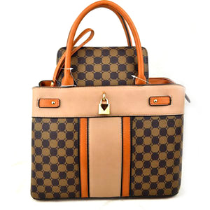 Monogram tote set - brown