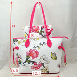 Floral print totoe with wallet - green