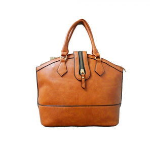Zipper closure handbag - tan