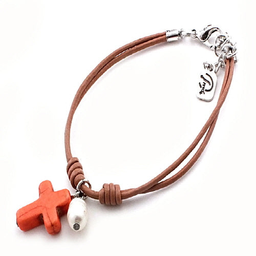 CROSS & PEARL BRACELET - ORANGE - Pink Vanilla