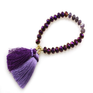 GLASS BEAD & TASSEL BRACELET