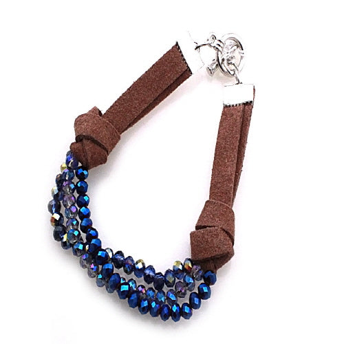 GLASS BEAD BRACELET - METALLIC BLUE