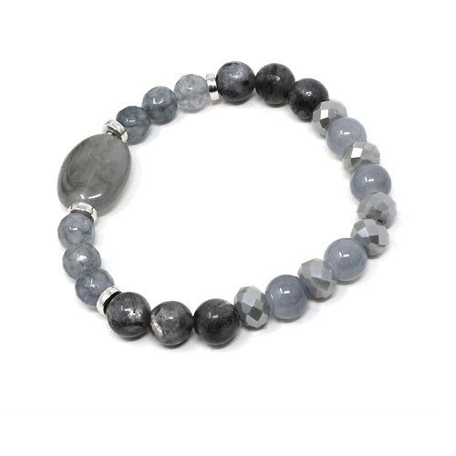 Glass bead bracelet - gray