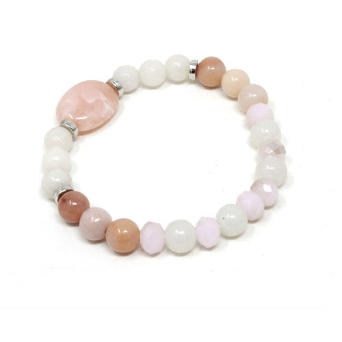Glass bead bracelet - natural