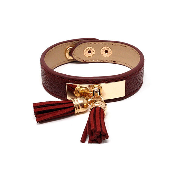 Leather w/ tassel bracelet - burgundy