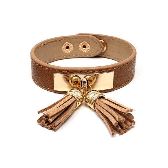 Leather w/ tassel bracelet - light brown