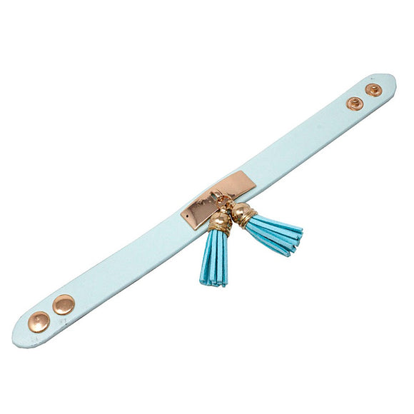 Leather w/ tassel bracelet - light blue