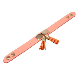 Leather w/ tassel bracelet - light pink