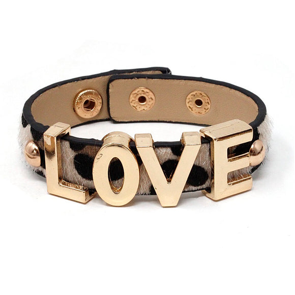 [2 PC] Love w/ animal printed faux fur bracelet