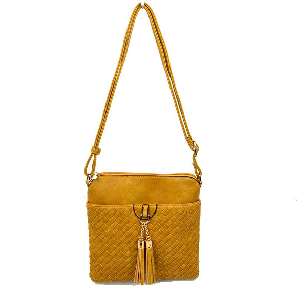 Weaving crossbody with tassel - mustard
