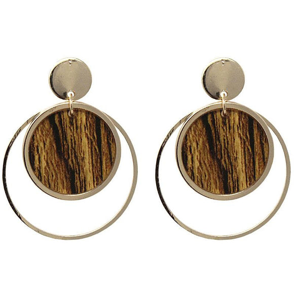 WOODEN POST EARRING