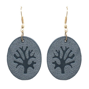 LEATHER TREE OF LIFE EARRING - BLUE