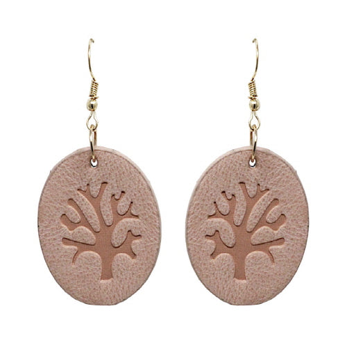 LEATHER TREE OF LIFE EARRING - PEACH