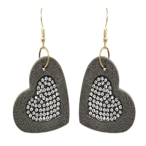 LEATHER HEART EARRING - GRAY