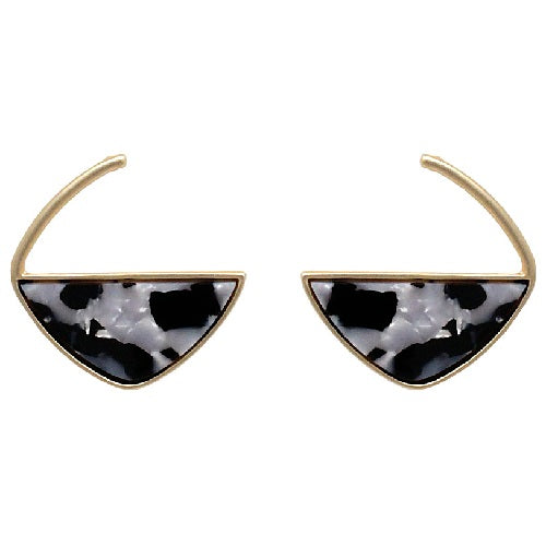 Marble texture earring - black