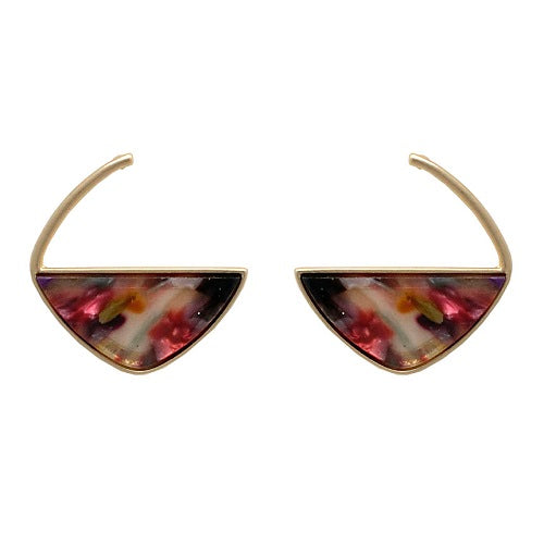 Marble texture earring - multi