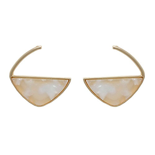 Marble texture earring - natural