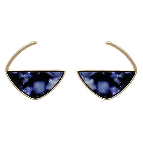 Marble texture earring - royal blue