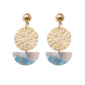 Rattan with acetate earring - blue