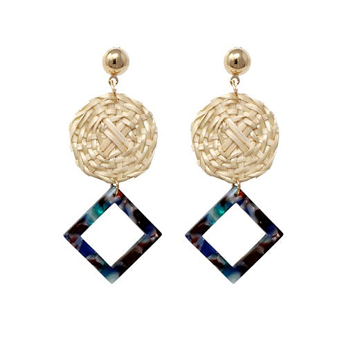 Rattan with acetate earring - multi