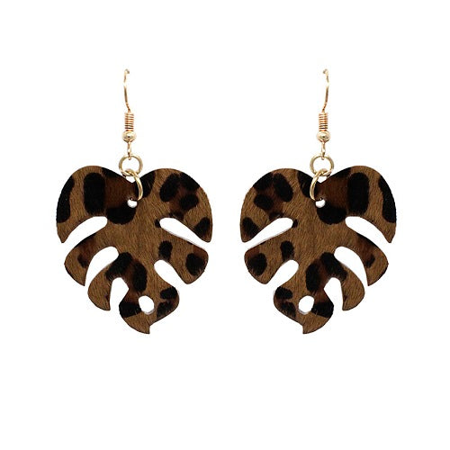 Monstera Leaf Earring - animal printed