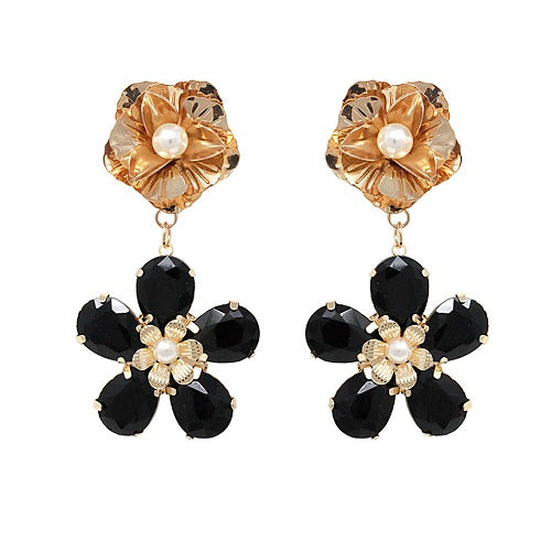 Flower crystal bead earring - black
