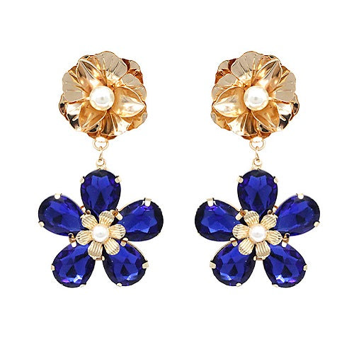 Flower crystal bead earring - blue