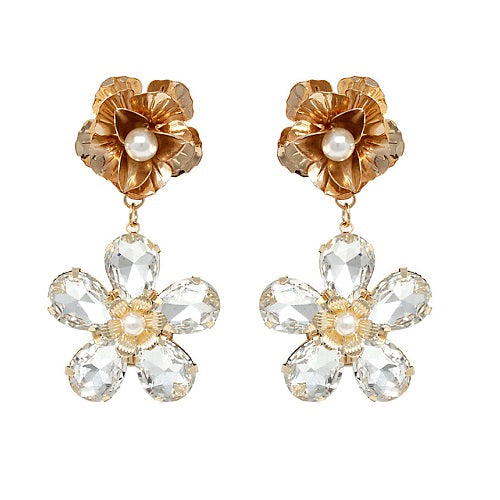 Flower crystal bead earring - clear