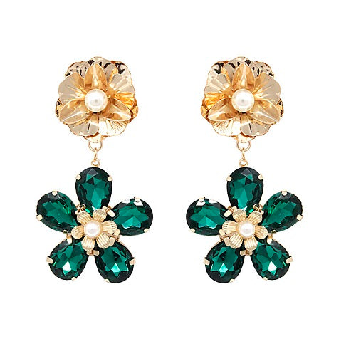 Flower crystal bead earring - green