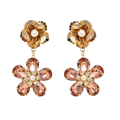 Flower crystal bead earring - peach