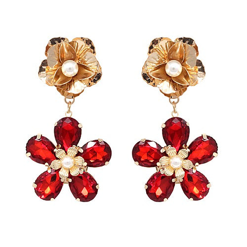 Flower crystal bead earring - red