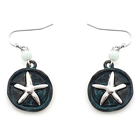Starfish  earring - patina silver
