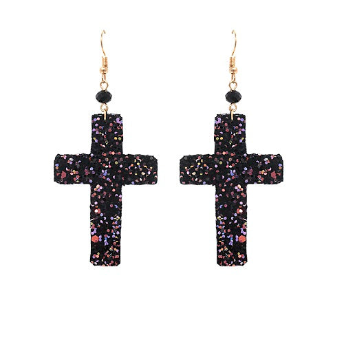Cross glitter earring - black