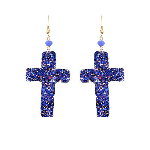 Cross glitter earring - blue