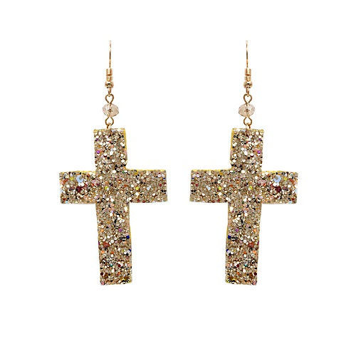 Cross glitter earring - gold