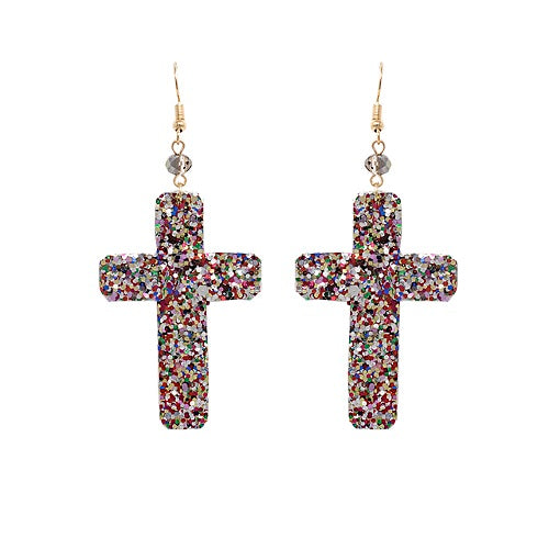 Cross glitter earring - multi