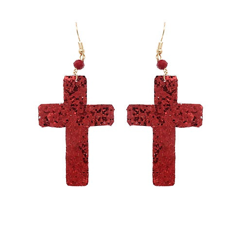 Cross glitter earring - red