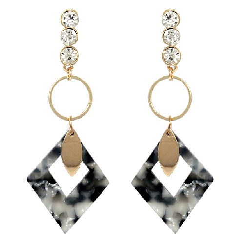 Colorful acetate drop earring - black