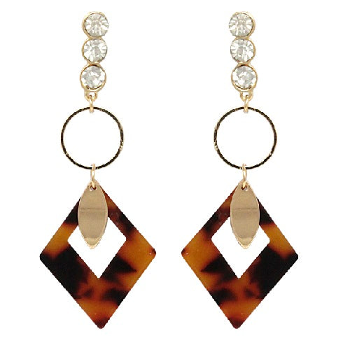 Colorful acetate drop earring - brown