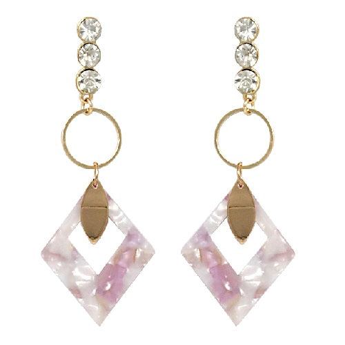 Colorful acetate drop earring - pink