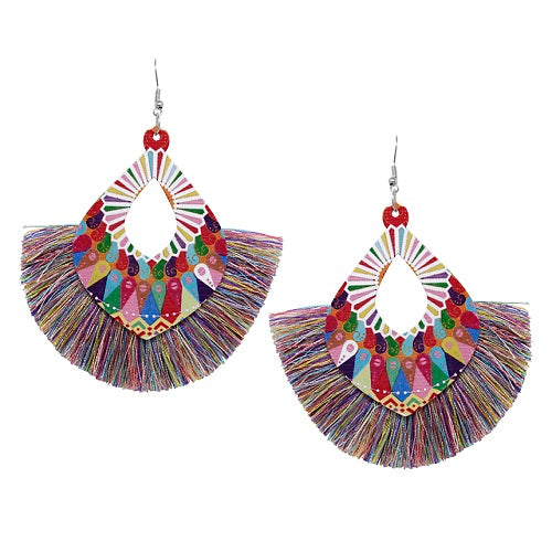 Pattern w/ fan tassel earring - multi
