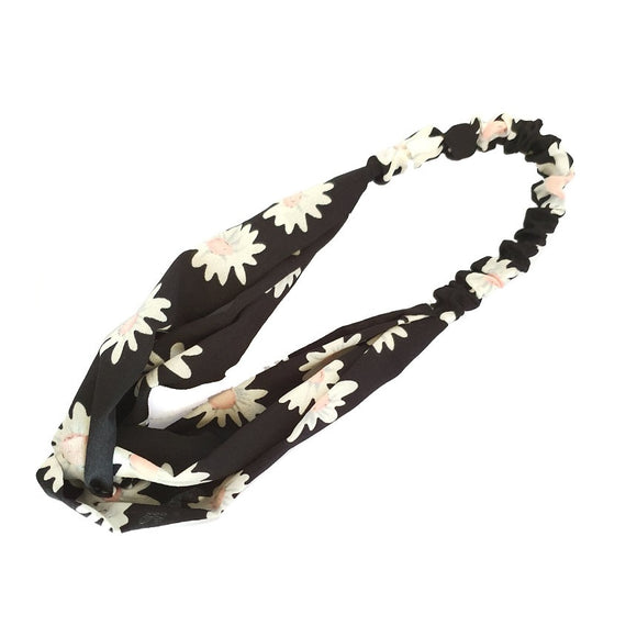 Daisy flower hairband - navy