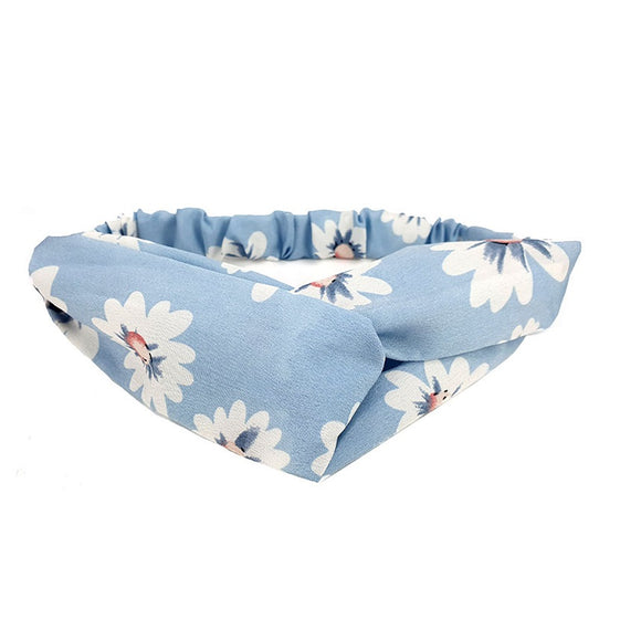 Floral hairband - blue