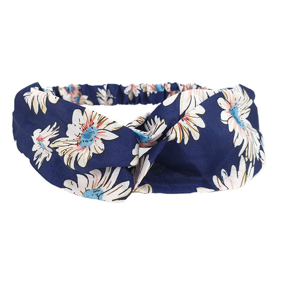 Floral hairband - navy