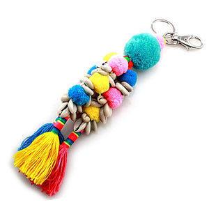 POM POM & SHELL KEY CHAIN