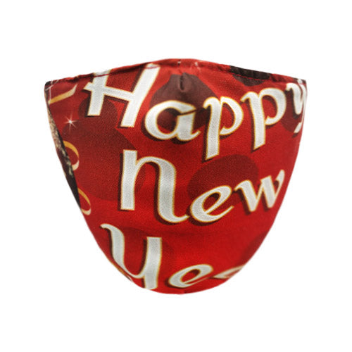 Happy new year cotton mask - red