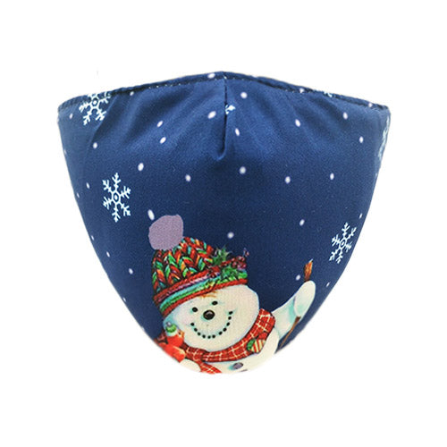 Snowman cotton mask - blue