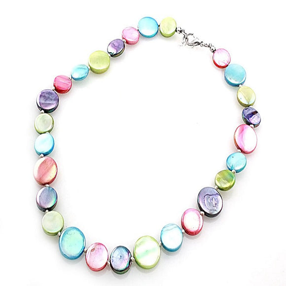 Single shell necklace set - light multi